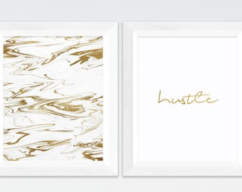 Hustle Print, Gold Marble Decor, Gold Typography Print, Office Decor, Modern Home Decor, Printable Art, Typography Art, Typography Print