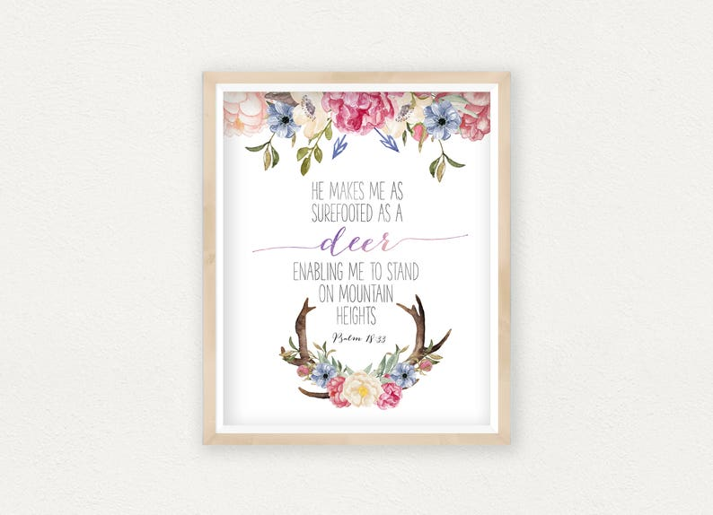 photograph about Printable Deer Antlers identify Psalm 18:33, Printable Bible Verse, Antlers Printable, Deer Antler Print, Deer Bible Verses, Christian Decor, Deer Bible Quotation, Antlers