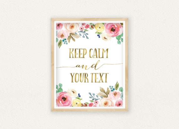 Keep Calm And Sign Custom Word Art Gold Lettering