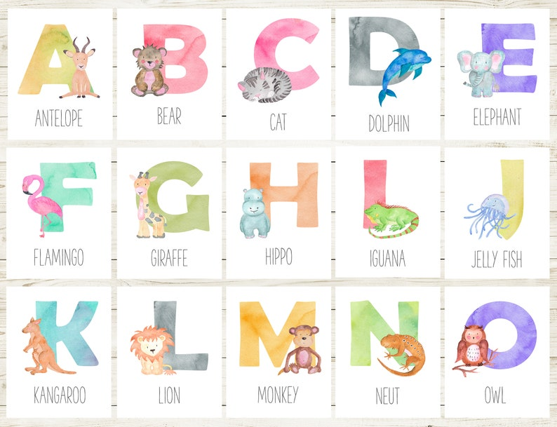picture relating to Alphabet Cards Printable named Animal Playing cards For Small children, Alphabet Playing cards Printable, Alphabet Playing cards For Nursery Alphabet Nursery Print Printable Flash Playing cards Flashcards Alphabet