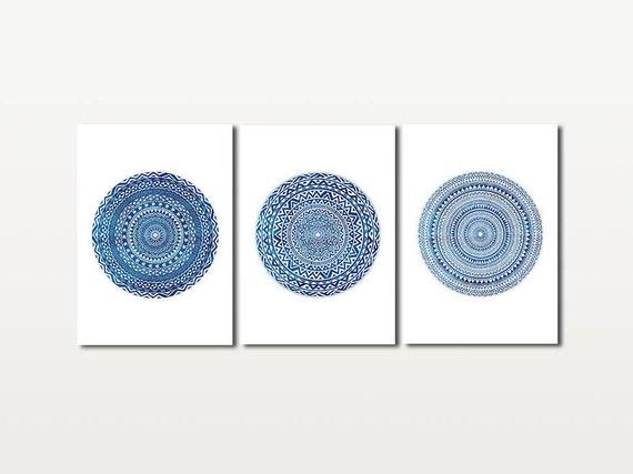 Set of 3 Prints Medallion Wall Art Mandala Watercolor Wall | Etsy