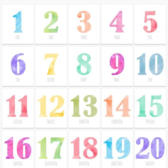 Tarjetas Numéricas Imprimibles Números De Guardería Impresos Etsy