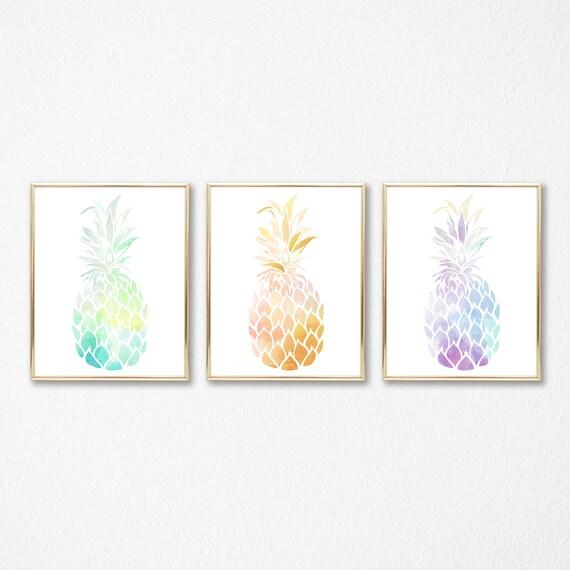 incredible Pineapple Wall Art Part - 6: Three Pineapple Print Set Printable Pineapple Wall Art   Etsy