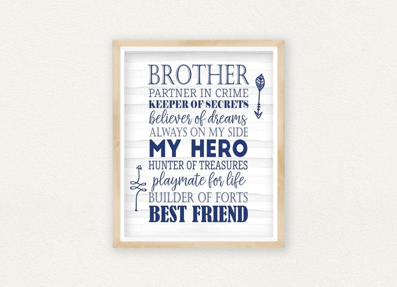 Brothers Make The Best Friends Nursery Boys Girls Wall Decor Art Poster Print