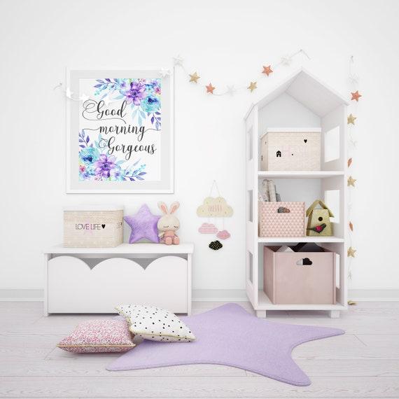 Guten Morgen wunderschöne, Baby Mädchen Kinderzimmer, Mädchen Kinderzimmer  Wandbilder, blau und lila Blumen Aquarell, blau Kinderzimmer Dekor, Mädchen  ...