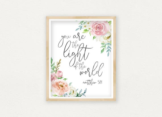 Bible Quote You Are The Light Of The World Matthew 514 Etsy