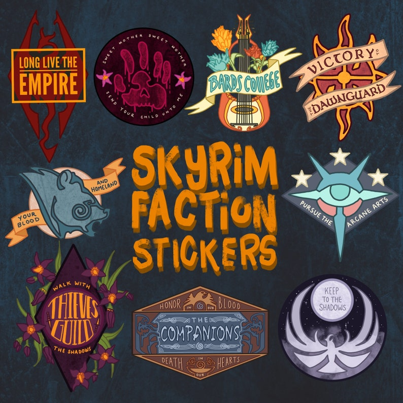 Skyrim Faction Stickers Assorted Designs Etsy