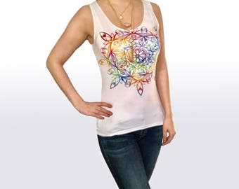 "Rainbow Tank Top ""Royalestial"" Sacred Geometry Mandala Geometric Bohemian Hippie Clothes Lotus Chakras Inspirational Gift for Women"