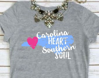 Carolina Heart Southern Soul Tee | **FREE SHIPPING**  | The Carolinas | Southern