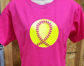 Breast Cancer Softball Tee | **FREE SHIPPING** | Breast Cancer Awareness | Breast Cancer Shirt | Breast Cancer Softball Ribbon