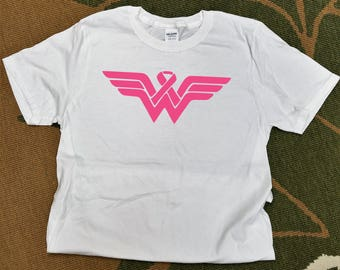 Breast Cancer Shirt | **FREE SHIPPING** | Wear Pink | Breast Cancer Awareness | Wonder Woman | Fast Shipping