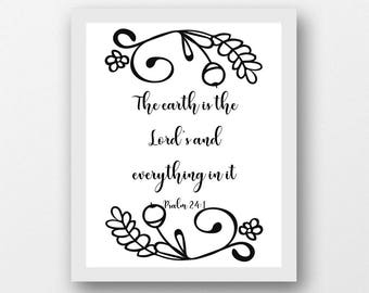The Earth Is Lords Scripture Quote Art Digital Download Exodus 3 14 Black White Gallery Wall Christian Bible Verse Print