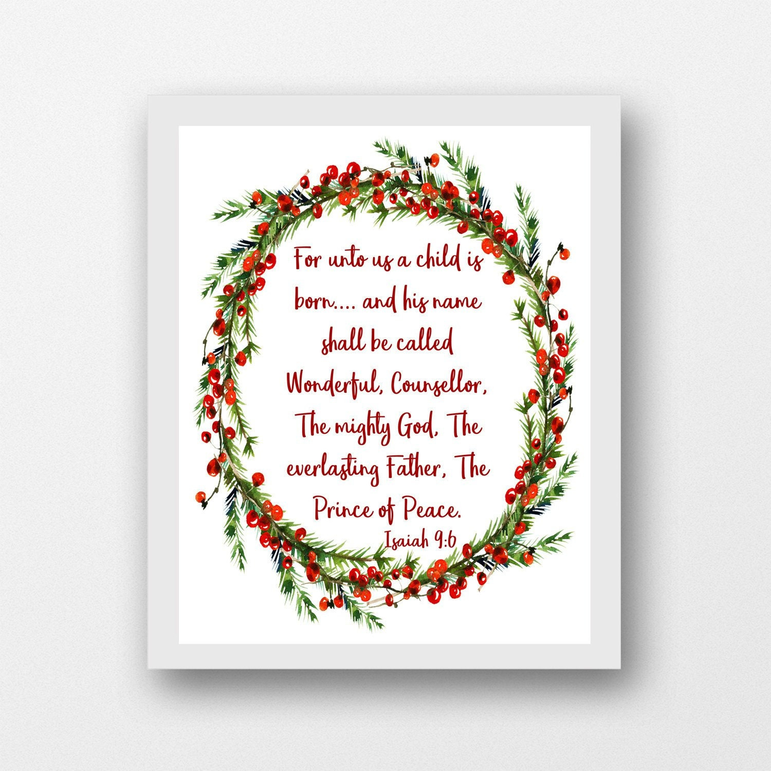 Isaiah 9:6 For Unto Us a Child is Born Christmas wall art   Etsy