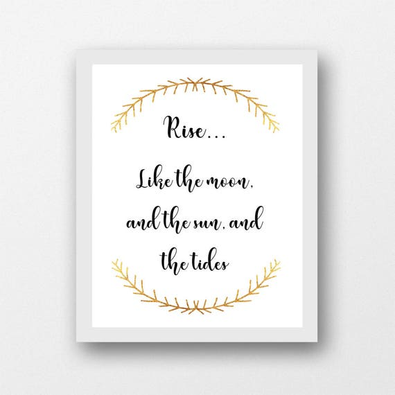 Rise like the moon quote, instant download meaningful quotes, inspirational  quote, motivational quote, printable wall art, quote print