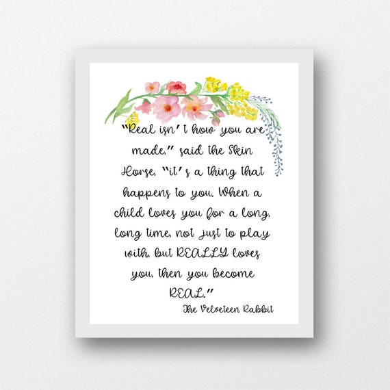 The Velveteen Rabbit quote printable art, Margery Williams, nursery wall  art, kids room decor, Children\'s book quote, rabbit quote, PDF