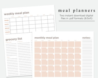 meal planner grocery list meal prep meal calendar printables 85x11 meal prep and planning two pack instant download