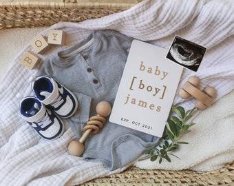 Edit-yourself Baby Boy Announcement for Social Media, Gender Reveal Pregnancy Announcement digital file, Modern baby boy, It's a boy!