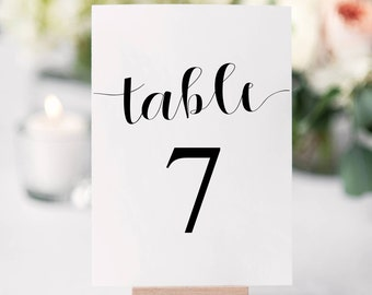 Minimalist Table Numbers, Black and White Wedding Seating Numbers, 4x6 Instant Download of 40 numbers, Wedding Signs