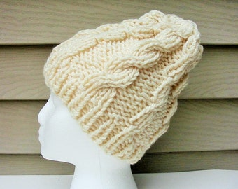 0215948eef9 FISHERMAN BEANIE HAT  New  Hand Knit  Cream   Ivory  Cable   Womens   Girls    Boys   Irish   Aran Hat Chunky