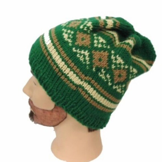 Hand Knit in USA Slouchy Hat Hipster Beanie Green