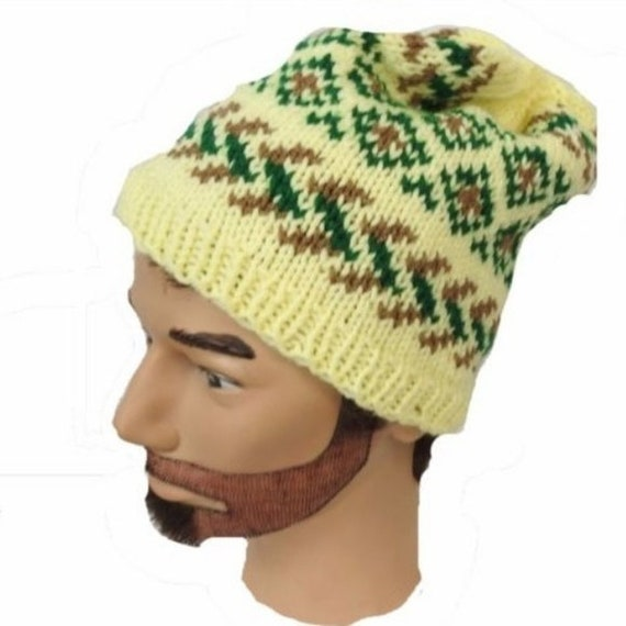Hand Knit in USA Slouchy Hat Hipster Beanie Yellow