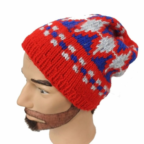 Hand Knit in USA Slouchy Hipster Beanie Red White