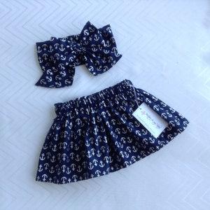Bow Headwrap Baby Headwrap Navy blue skirt Headwrap Big Bow Hair Bow White and blue skirt Skirt Baby Skirt Polka dot Toddler Skirt