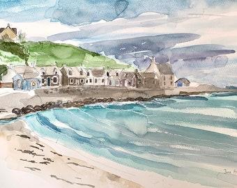 Sandend, Moray Coast Watercolour Painting