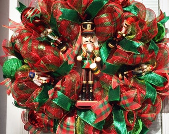 nutcracker wreath deco mesh nutcracker wreath christmas wreath for your door christmas wreath nutcracker deco mesh wreath - Christmas Wreaths Etsy