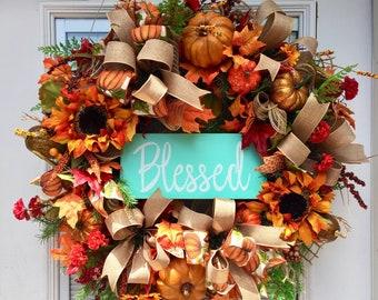 Fall Wreath for your front door, Burlap Wreath for your door,  Pumpkin Burlap Wreath, Fall Wreath, Thanksgiving Wreath, Pumpkin Wreath