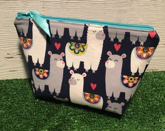 Llama makeup bag/ zipper pouch
