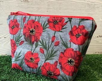 Red poppy makeup bag