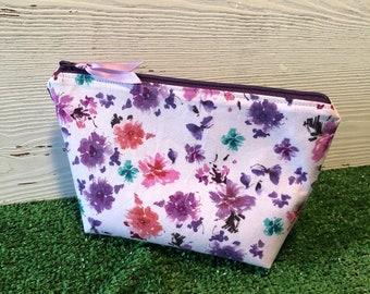 Purple floral makeup bag
