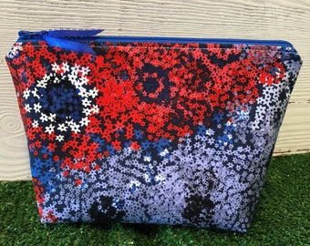 Red, white and blue makeup bag