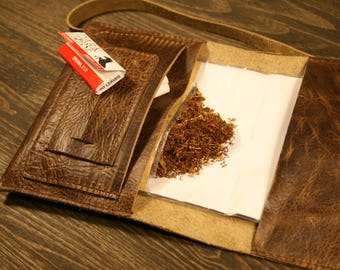 Leather tobacco pouch   Exclusive leather tobacco pouch  Personalized roll   Tobacco pouch   Vintage leather tobacco rolling pouch