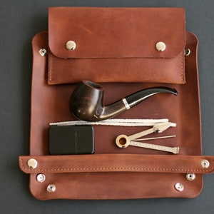 Leather Pipe Bag Burgundy Crazy Horse Leather Handmade Pipe Pouch Pipe Roll