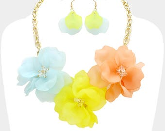 Colorful Triple Flower Statement Necklace