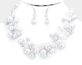 Multi Strand Pearl Beaded Illusion Necklace
