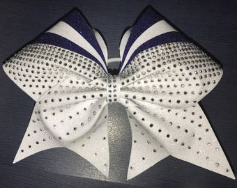 White and Royal Blue Glitter competition bow with crystal rhinestones 65e0ed45b7