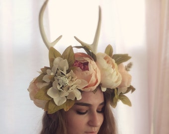 Sweet Pink and Cream Antler Flower Crown
