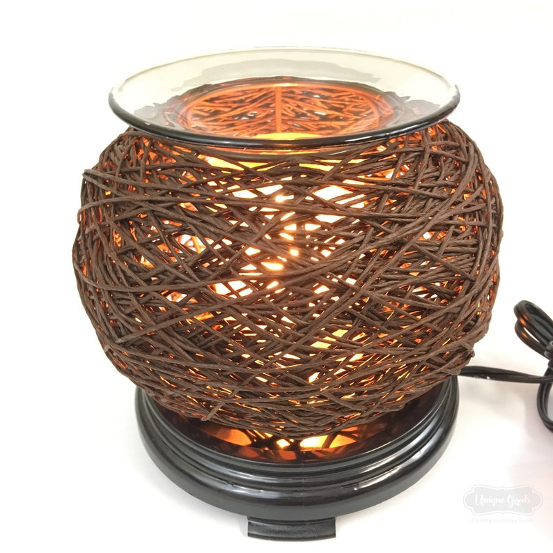 NEW Nest Fragrance Lamp Wax Tart Oil Warmer Electric Oil Burner Round FREE OIL