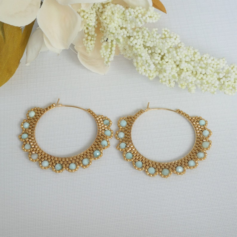 larimar gemstone seed bead hoop earrings