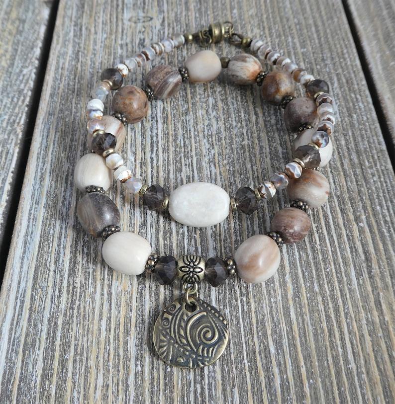 matte wood opalite bracelet-Tibetan agate bracelet-smoky topaz quartz gemstone bracelet