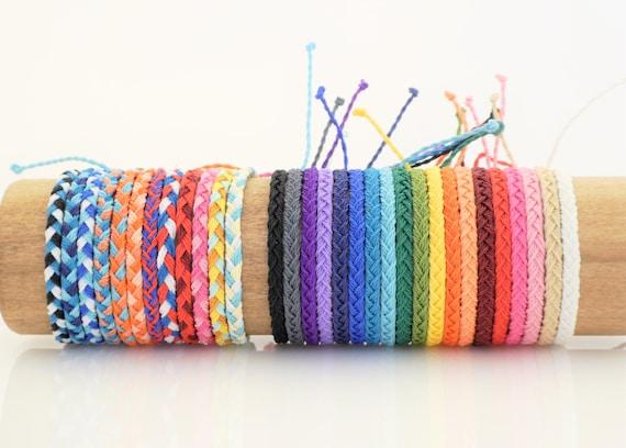 Flat Braided Friendship Bracelets Adjustable Closure Wax Etsy