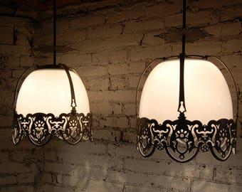 2 Vintage White Glass/Milk/Glass Pendant Lights w/ Ornate Metal Frame