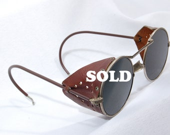 Vintage industrial Welding Glasses/Sunglasses with Leather sides& Green Lenses Steam Punk