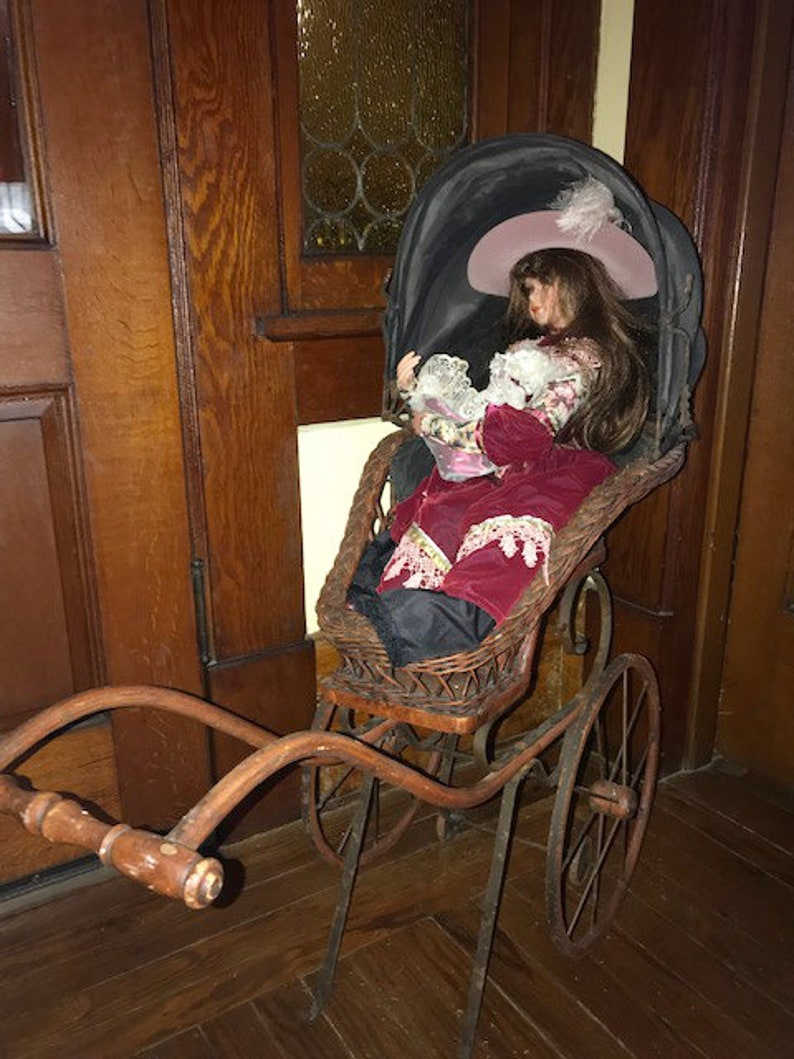 Antique Victorian Doll Carriage Buggy Strolle Wicker Wood Other