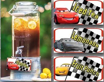 CARS PRINTABLE DECORATIONS Digital Cars Decoration Beverage Dispenser Labels 3 Birthday Decorations Party