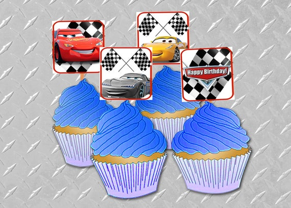 CARS 3 BIRTHDAY CUPCAKE Toppers Printable Digital Cars