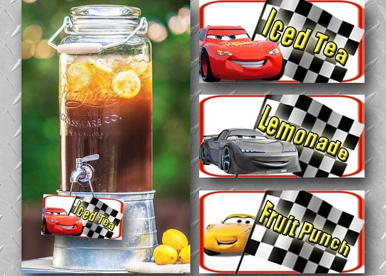 CARS PRINTABLE DECORATIONS Digital Cars Decoration Beverage